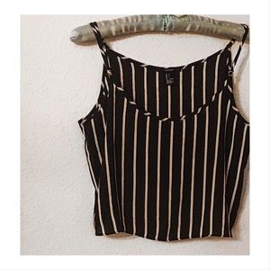 Forever 21 semi sheer pinstriped cropped cami